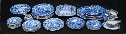 49pc copeland spode italian blue white china set