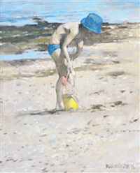 boy on beach by brian denington