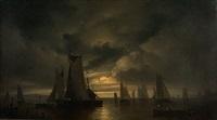 rybářské lodě za noci by george gillis van haanen