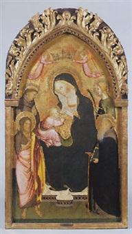 madone en trône allaitant l'enfant, couronnée par deux anges volants, entourée à gauche par saint françois et saint jean-baptiste et à droite par une saint martyre et saint antoine abbé by agnolo di taddeo gaddi