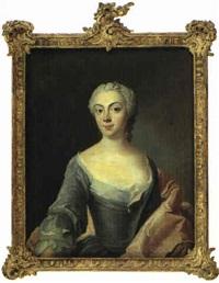 portraet af dame i decolleteret bla kjole by peder als