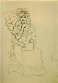 self-portrait drawing by frida kahlo