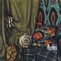 stilleben mit geweben, schwarzer puppe und flasche by alfred waagner