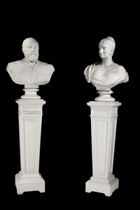 busts of john henderson and his second wife, jessie (pair) by edwin roscoe mullins