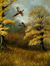 pheasants in autumn by kenneth smallwood