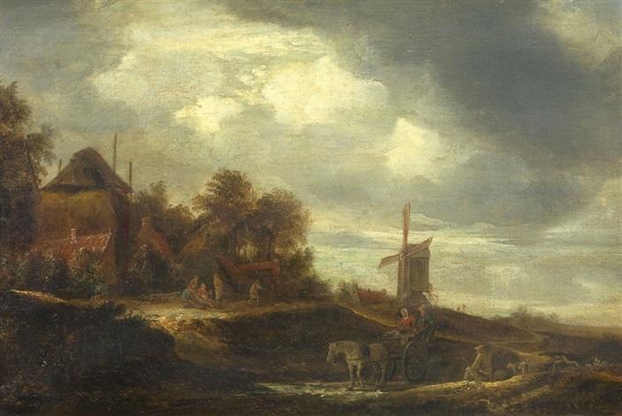 dorflandschaft mit windmühle und pferdekarren by pieter jansz van asch