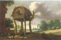 a dovecote in a wooded landscape, with a man watching over his pigs and chickens in the foreground by jan christiansz micker