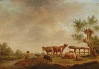 landscape with fisherman and cows by henri-joseph antonissen