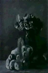 stilleben mit apfeln und veilchenstrauss by anny kaulbersch
