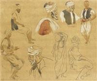 huit personnages arabes by eugène delacroix