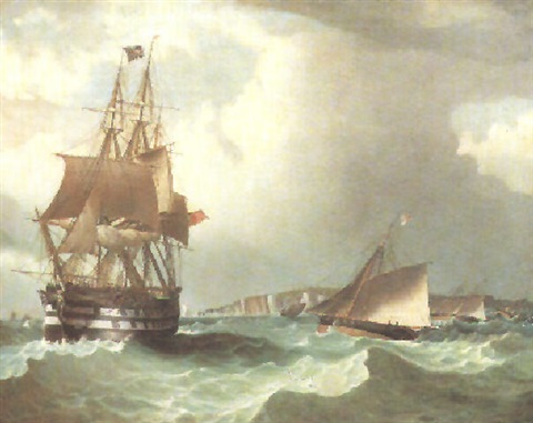 the frigate the thames in rough seas with boats of the royal yacht squadron and royal thames yacht club racing by w dunnage