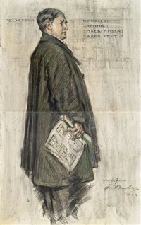 charles rennie mackintosh vor der glasgow school of arts by francis henry newbery