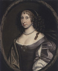 portrait of dame helen skene, daughter of sir james skene and wife of sir charles erskine of alva, in a purple dress by david scougall