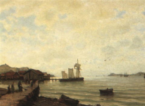 coastal scene with fishing village by karl gabriel adelsköld