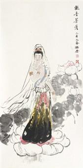 观音菩萨 镜片 设色纸本 by liu jirong