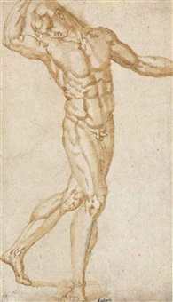 a striding male figure with his arms raised by baccio bandinelli