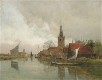 vessels on the schie in overschie, in the municipality of rotterdam by rudolf ribarz