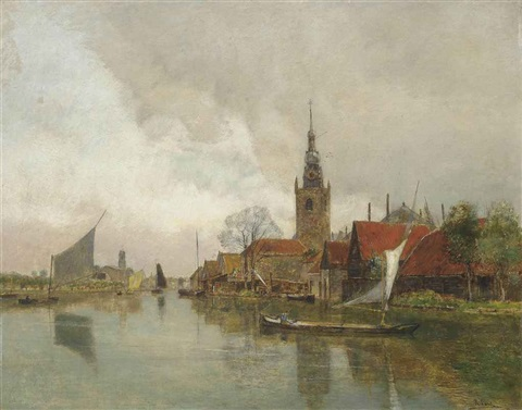 vessels on the schie in overschie in the municipality of rotterdam by rudolf ribarz