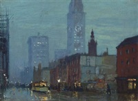 rainy night in new york city by charles hoffbauer