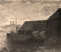 bateaux de pêche à quai, le soir by nicholas d' ascenzo