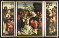 the holy kinship (triptych) by master of frankfurt