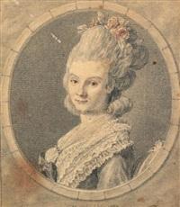 portrait de femme en buste de profil la tête tournée vers le spectateur by charles nicolas cochin the younger