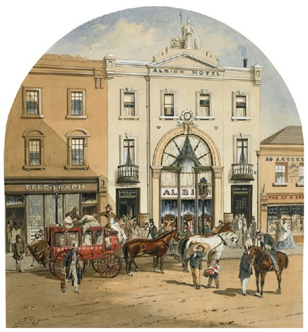 cobb co booking office with beechworth coach and the albion hotel by samuel thomas gill