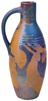 pitcher with female and flower décor (handpainted by henrik darilek) by zsolnay