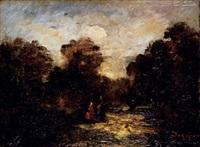 scène dans un paysage by marie nicolas honoré du veyrier