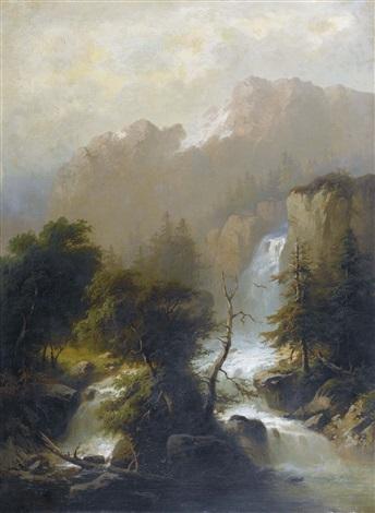 berglandschaft mit wasserfall by alexandre calame