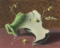 still life with mossy bone by roger medearis