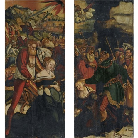 the martyrdom of saint barbara the martyrdom of saint catherine pair by danube school 16