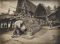 mourners and dead house at kalo, new guinea by john william lindt