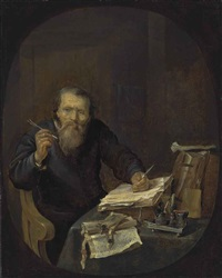 a notary sharpening his pen, in an interior by gabriel metsu