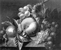 a still life with a peach, a lemon and grapes by johannes jacobus van der waals