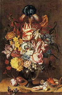 tulips, peonies, narcissi and other flowers in a glass vase with plums, seashells, a butterfly and a lizard on a ledge by ambrosius bosschaert the younger