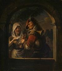 zwei straßenmusikanten, eine sängerin und ein dudelsackspieler in einer bogennische mit ausblick auf eine abendliche holländische landschaft by johann jakob dorner the elder