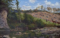 landscape with a stream and harvesters working in a field beyond by thomas j. banks