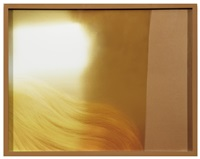 cardboard, platinum blond wig, gold reflector by elad lassry