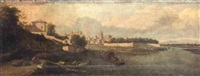 a river landsape with stevedores loading barrels on to a boat by filippo (il bizzarro) gagliardi