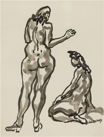 two nude figures by joseph delaney