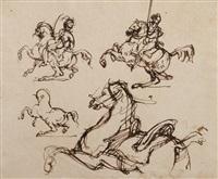etude d'un officier de chasseur à cheval, d'un cuirassier à cheval, d'un cheval cabré et d'un cheval de mameluck se cabrant by théodore géricault