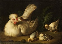 hen with chicks by jacob samuel beck