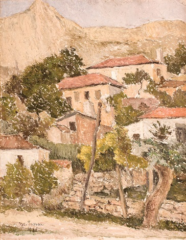 landscape with houses by marcel enescu