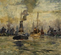 morgenstimmung im hamburger hafen by richard albitz