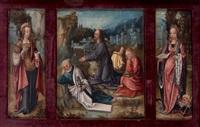 le christ au jardin des oliviers entre sainte madeleine et sainte catherine d'alexandrie by bernaert (barend) van orley