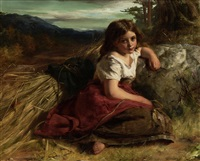 young girl at the edge of a cornfield by robert herdman