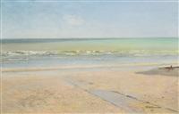 beach scene in la panne by ivan pavlovich pokhitonov