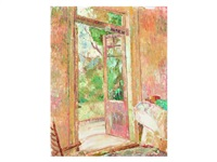 studio doorway; verso still life with roses by grace cossington smith