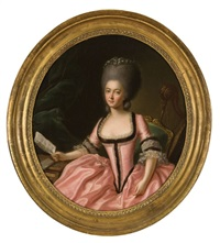 portrait of a lady in a pink dress with a sheet of music by francis alleyne